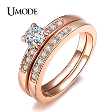 UMODE Rose Gold Color with Pave Band 0.5ct Brilliant Cubic Zirconia Wedding Ring Set JR0057A(China)