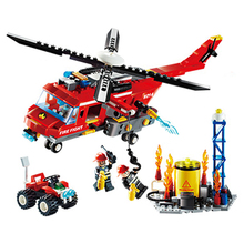 Free Shipping Fire Helicopter set Bricks Building Block Sets Models Educational Toys For Children 374pcs Compatible With toys(China)