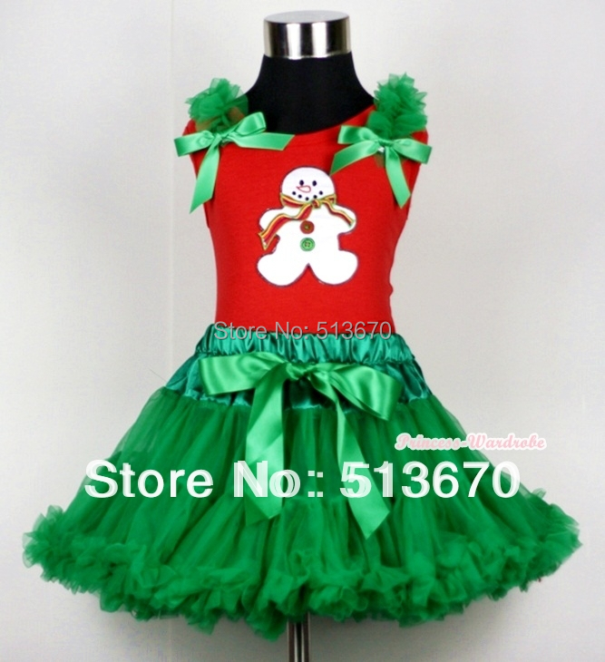 Kelly Green Pettiskirt &amp; Christmas Gingerbread Snowman Print Red Tank Top with Kelly Green Ruffles and Bow MACM112<br>