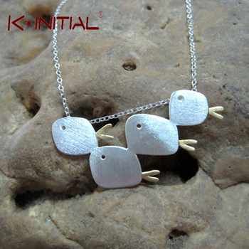 Kinitial 1Pcs 925 Silver Animal Fish Swarm Necklaces & Pendants For Women Fashion Sterling Silver Statement Necklace Jewelry