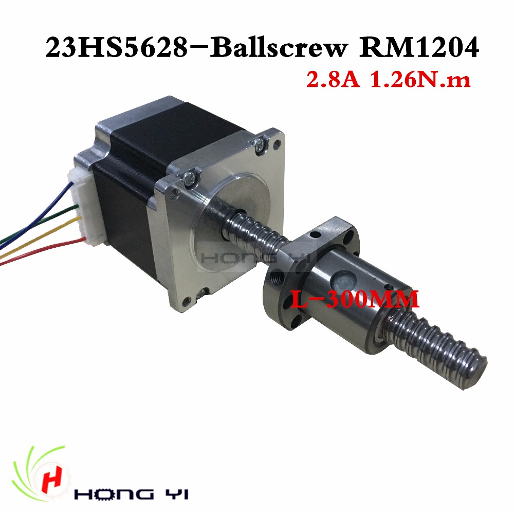 23HS5628  4-lead ballscrew sfu1204 L300MM Nema 23 Stepper Motor 57 motor NEMA23 Stepper Motor 2.8A<br><br>Aliexpress