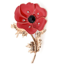 NEW Wedding Red Poppy Flower Brooches Pins Fashion Jewelry Brooches Princess Memorial Enamel Brooches For Women(China)