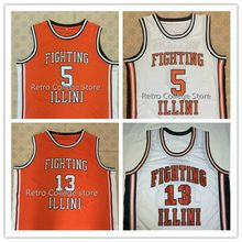 #5 DERON WILLIAMS #13 Kendall GILL FIGHTING ILLINI High School Basketball Jersey Orange White Men's Embroidery jersey(China)