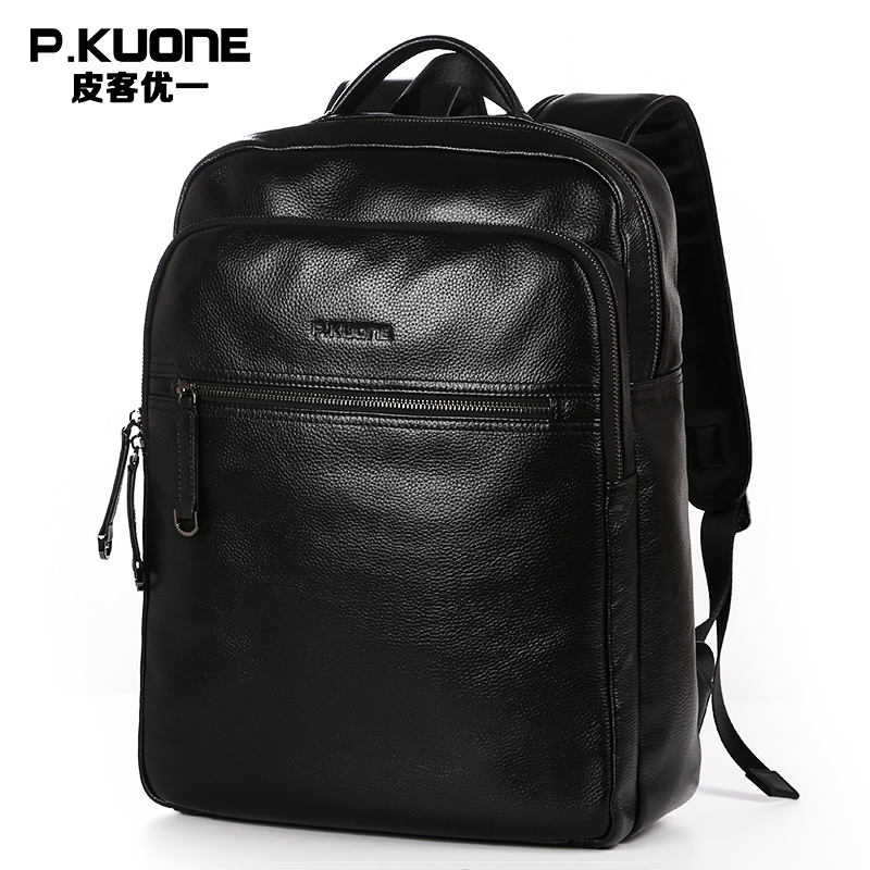 Mens leisure travel soft leather shoulder bag of street  leather man bag Genuine leather fashion black school backpacks<br><br>Aliexpress