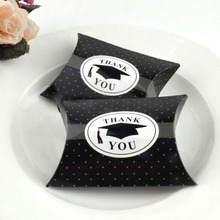 "100pcs ""Thank You"" Black Graduation Bachelor Cap Gift Box Sweets Box Pillow Candy Box Favors Graduation Party Supplies(China)"