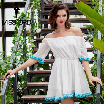 Missord 2017 sexy slash cuello sin tirantes corto sleevele flor mini dress ft8148