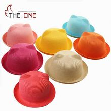 2016 1-8T Baby Girls Straw Cat Ear Sun Hat Children Boys Fitted Solid Spring Summer Lovely Bear Beach Hats Decoration T336(China)