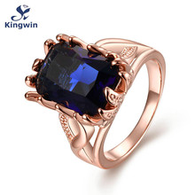 hip hop High Quality big stone Blue zircon Ring for women Rose Gold Color created gem luxury jewelry