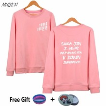 MULYEN KPOP Bts Hoodies Women Bangtan Boys Fans Supportive Pink Hoodie Young Forever Printed O Neck Harajuku Sweatshirt