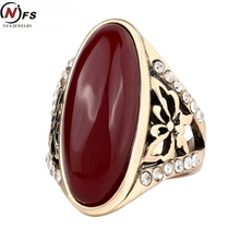 NFS Carved Resin Stone Ring Antique Gold-Color Natural Jewelry Vintage Retro Chinese Jade Rings Zircon Big Stone Ring For Women