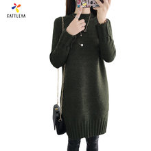 Spring Autumn Multi Color Wool Free Size Women Dress Comfort Knitted Pullover Sweater Fashion Stand Neck Long Sleeve Jumper Top