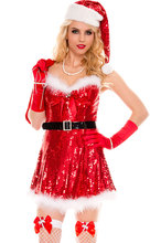 New 2017 Hot Christmas Costumes Festive Cosplay Sexy Sparkly Miss Santa Costumes LC7253 New Year Clothes For Women