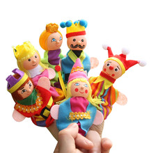 6pcs Queen and King Set Figure Puppets Lovely Wooden Head Puppet Kids Story Dolls(China)