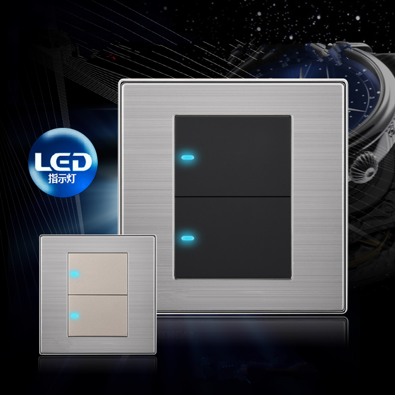 2 gang 1 way light switch,UK Standard lamp pull switch and 304 s/s wall switch AC110-250V push button switch with LED ndicator<br><br>Aliexpress