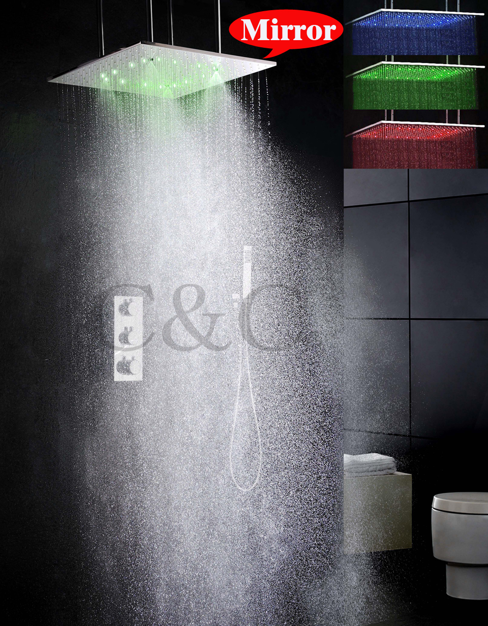 Thermostat Bathroom Shower Faucet Set 20 Inch Two Functions Atomizing Rainfall LED Shower Head Brass Hand Shower