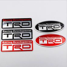 Car Metal Black Red TRD Logo Emblem Sticker Decals Accessories(China)
