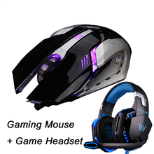 Gaming Mouse Ajustable 3200DPI 6 Buttons Optical Macro Programming USB Game Mouse + Gaming Headphone Game Headset Bass Earphones