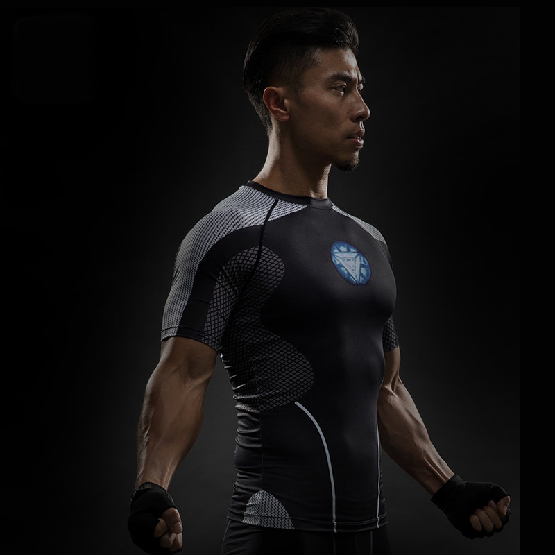 Short Sleeve 3D T Shirt Men T-Shirt Male Crossfit Tee Captain America Superman tshirt Men Fitness Compression Shirt Punisher MMA 11