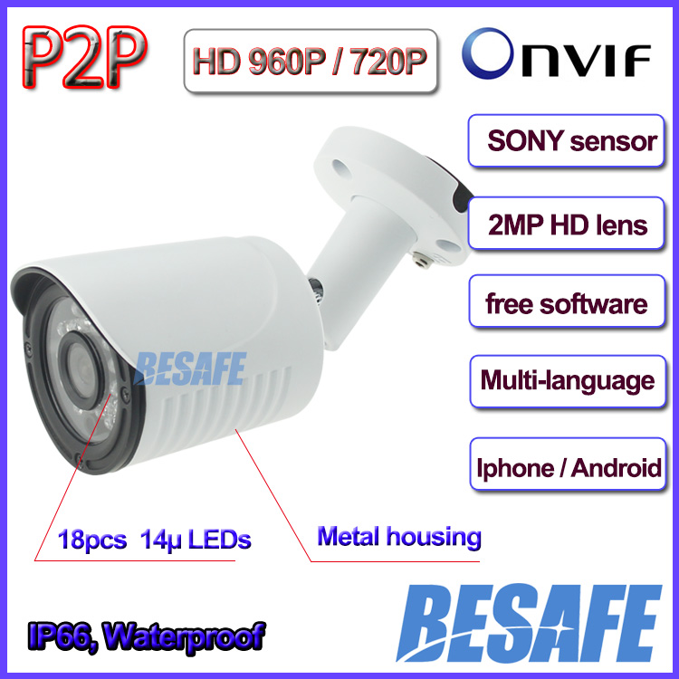 SONY 1.4MP Sensor 960P camera ip onvif 720P P2P outdoor ip camera, 18pcs LED, 3.6mm Lens, IP66, 3-Axis bracket, H.264, IR CUT<br><br>Aliexpress