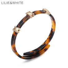 LILIE&WHITE 2017 Ethnic Marble Acrylic Flexible Stetch Bangle For Women Three X Metal Ornament Open Bangles Jewelry Gift HB(China)