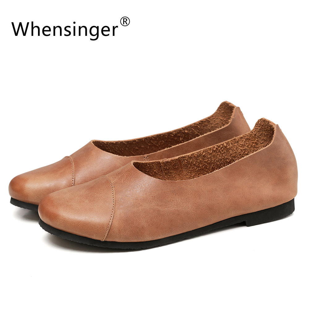 Whensinger - 2017 Spring New Arrvial Women Flats Cow Leather Fashion Shoes Slip-On Design 186<br><br>Aliexpress