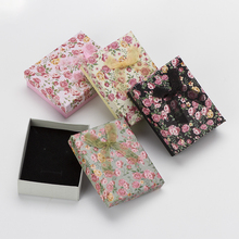 Gift Box Jewelry Package 4PCs Flower Floral Bowknot Bracelet Jewelry Boxes Mixed Colors Storage Box 7x9x3cm Black Sponge(China)