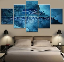 5 Panel Canvas Print Seattle Seahawks Rugby Wall Pictures For Living Room Wall Art for Home Decorations Wall Decor Painting