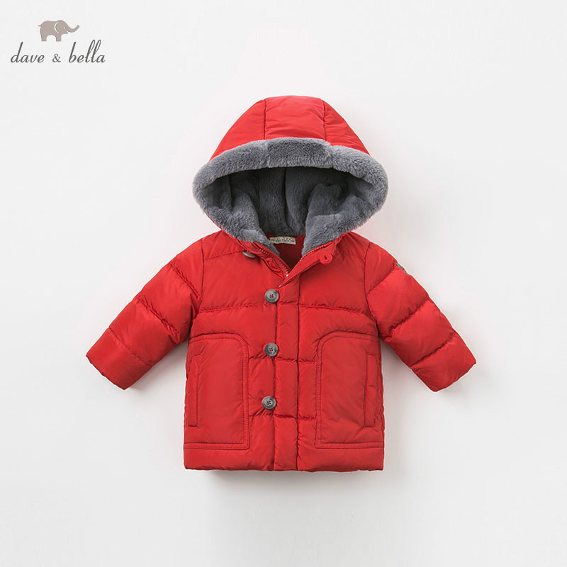 DB8962 dave bella baby boy down jacket children hooded outerwear infant toddler boutique 90% duck down padded coat