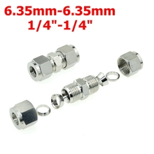 "2Pcs 1/4""-1/4""OD (6.35mm-6.35mm)  Double Ferrule Tube Straight Compression Fitting Coupler SS Pipe Connector Stainless Steel 304"