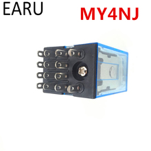 1Pc MY4NJ Electronic Micro Mini Electromagnetic Relay 5A 14PIN Coil 4DPDT DC12V 24V AC110V 220V Green LED Indicator Relay Switch