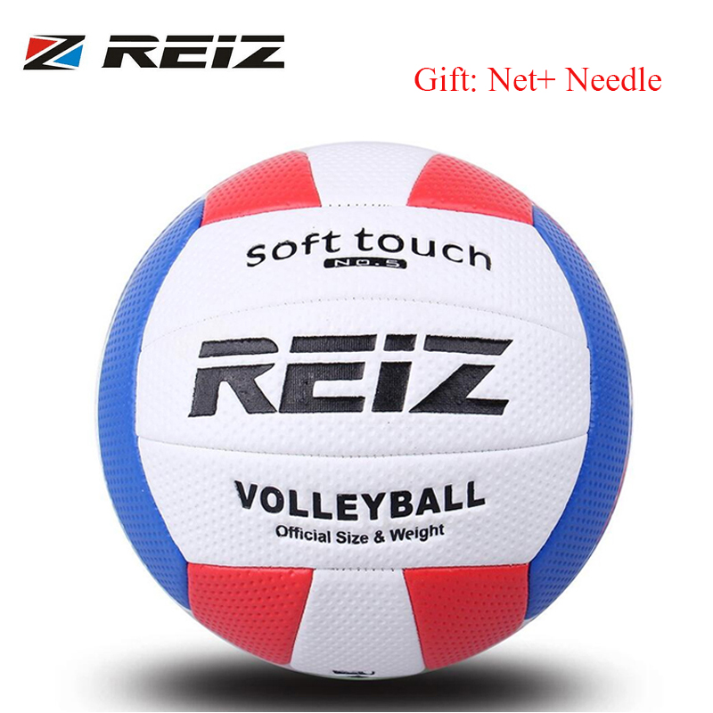 REIZ Volleyball Ball Indoor Outdoor Competition Training Ball Men Women Official Size Weight Soft Touch Volleyball high quality(China (Mainland))
