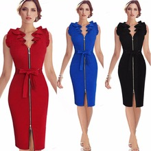Buy Elegant 2018 Women Fashion dress V collar Cardigan sleeveless Sexy dress Summer Female dress Office Knee Party Bodycon dress for $17.48 in AliExpress store