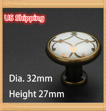 US Shipping 5pcs Golden Flower Printed Ceramic Zinc Alloy modern simple classic knob Kitchen Cabinet Furniture Handle knob(China)