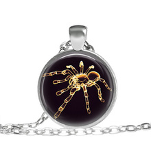 JEPHNE Gold Egyptian Spider Tarantula Necklace Spiders Insects Gold Spiders Pattern Glass Dome Pendant Necklace Women Men Gifts