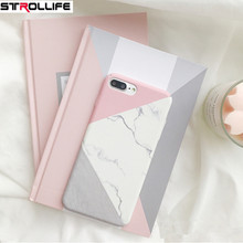 STROLLIFE Geometric Splice Marble Phone Case For iPhone 8Plus case Frosted Hard PC Full Protect Cover Capa For iPhone8Plus Coque(China)