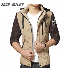 ZOOB MILEY Winter Men Parka Warm Fleece Inside Contrast Color Plus Size M-XXL Mens Jackets and Coats Causal Outerwear