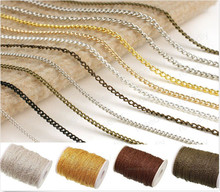 ILOVEDIY  5m/lot Silver/Gold/Antique Copper/Bronze Plated Cable Open Link Iron Metal Chain Findings For Necklace Making