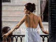 Free shipping no frame Balcony at Buenos Aires II by Fabian Perez woman modern oil painting wall art home decor on canvas(China)