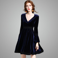 2017 New Pattern Suit-dress Self-cultivation Thin Temperament Crossing Lead Velvet Horn Sleeve Will Pendulum Dress 73686(China)