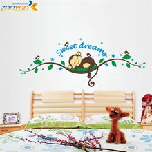sweet dream cartoon monkey wall stickers for kids room home decorations zooyoo1203 diy bedroom adesivo de parede decal mural art(China)