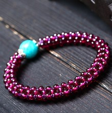 Lei Art Jewelry Crystal The Milky Way Stone Distribution 3 Millimeter Purple Rose Garnet Multi-storey Bracelet A Piece Hair(China)