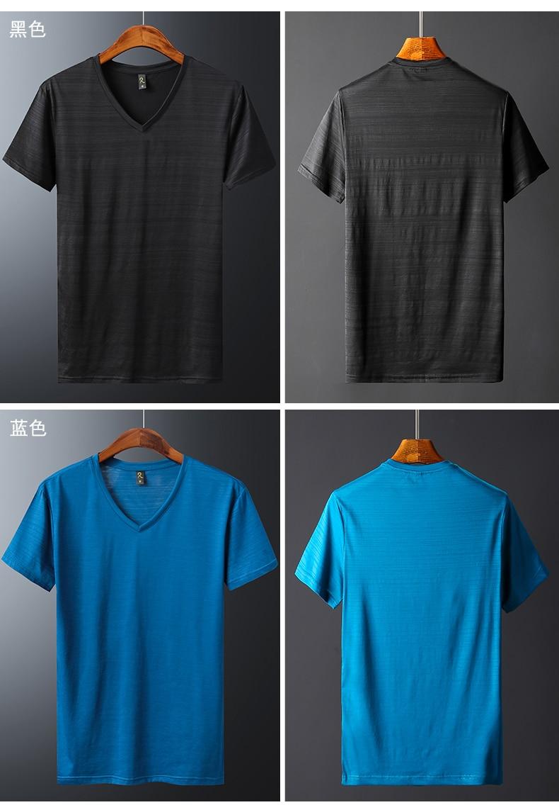 2018 Summer High quality men T shirt casual short sleeve V-neck Mercerized cotton t-shirt men brand icy Silk black Co (9)