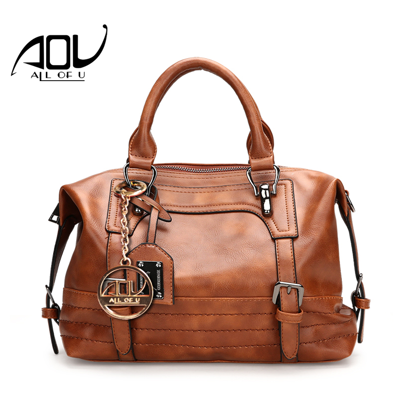 AOU NEW Women Fashion Handbag For L Solid PU Leather Shoulder Mens Casual Tote Bags Brown Vintage Business Top handle Bag<br>