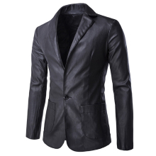 European and American Style Mens Leather Blazers Jacket Casual Men's Suit Jacket Coat For Mens Streetwear Overcoats Brand S2363(China)