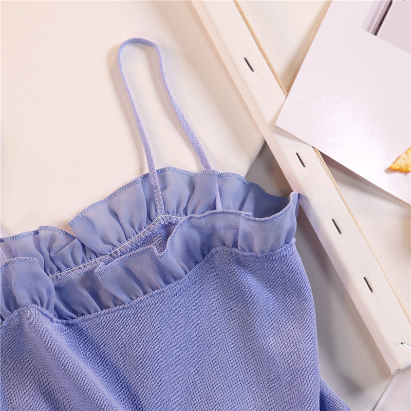 Women Fashion Knitting Patchwork Chiffon Ruffles Neck Cropped Tanks Tops Girls Knitted Tee shirts Camis crop Tops Female 6