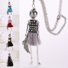 New black tassel doll women long pendant multicolor maxi necklace female cute hot girl rhinestone fashion jewelry collier femme