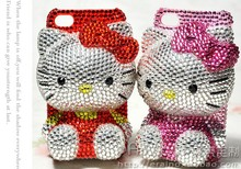 100% Handmade Bling Bling Lovely Crystal Hello Kitty DIY Mobile Phone Cell Case for iphone x case for samusng Galaxy note 8 case(China)