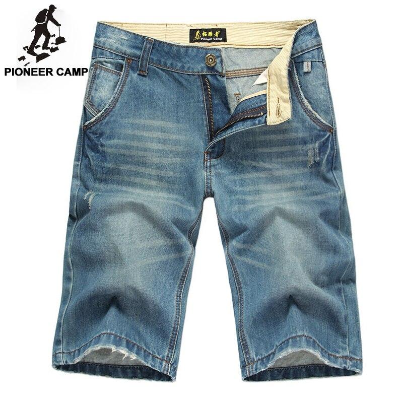 Pioneer Camp summer short jeans men moustache effect men pants denim slim straight casual trousers men clothing brand 377513Одежда и ак�е��уары<br><br><br>Aliexpress