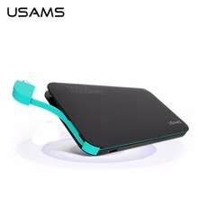 USAMS 10000mAh Portable Power Bank US-CD05 Leather Grain Universal for Digital Devices USB Cable&Power Bank In One(China)