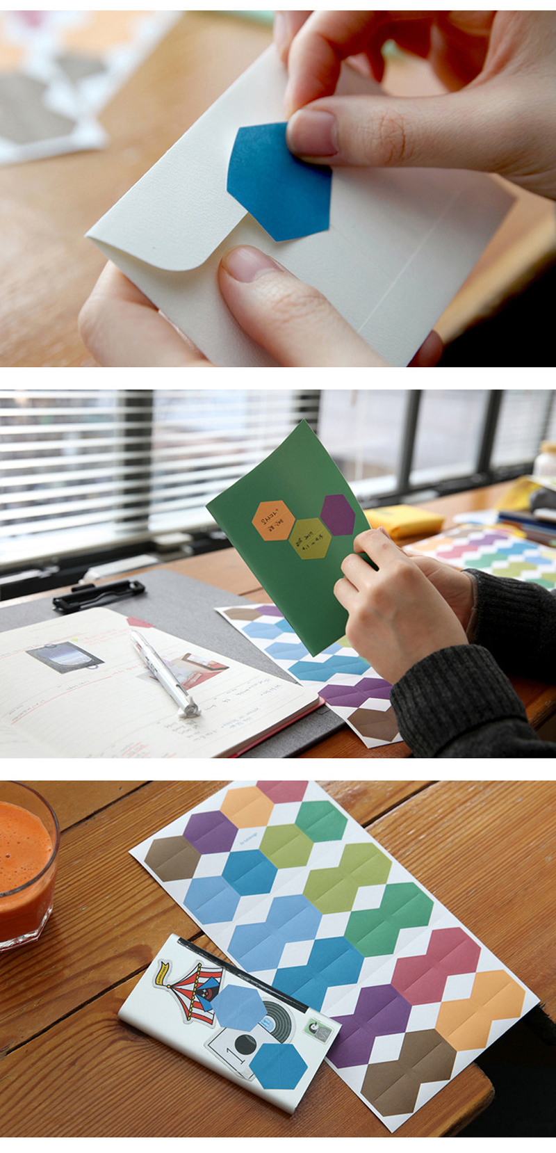 48pcs/2Sheet Colored Hexagon Index Sticky Notes Notebook Planner Accessories Tool Index Sticky Sticker Message Notes Scratch Pad